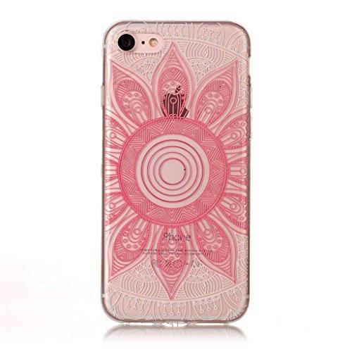 Crisant Rosa Muster Drucken Design weich Silikon Ultra dünn TPU Transparent schutzhülle Hülle für Apple iPhone 7 4.7'' (4,7''),Premium Handy Tasche Schutz Case Cover Crystal Bumper Schale für Apple iP