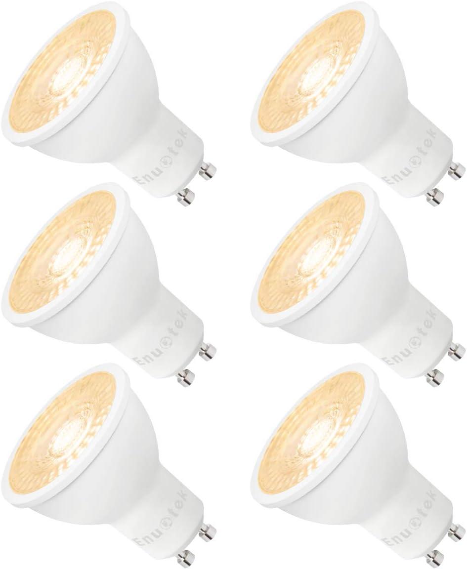 Lamparas Bombillas de LED Casquillo GU10 Regulables 7W Focos Luz Calida 3000K Brillo Alto 650Lm 185V-265V para Lamparas Focos LED Empotrables Pack de 6 de Enuotek