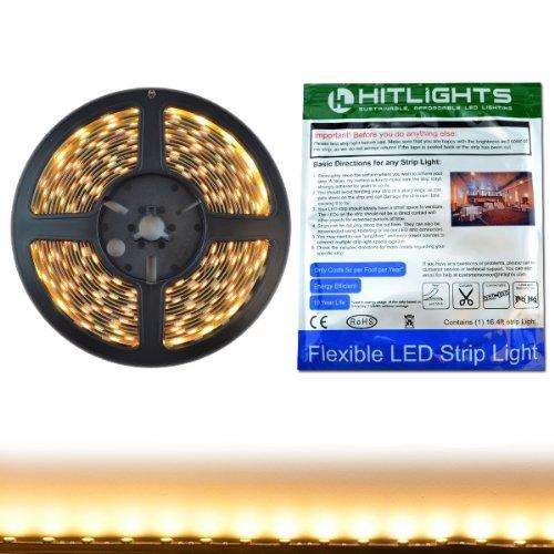 HitLights High Density LED Light Strip - Warm White 3000K SMD 5050 - 300 LEDs, 16.4 Ft Roll - 12V DC - 247 Lumens / 4 Watts per Foot - Indoor IP-30 - Adhesive Backed for Easy Installation - LED Tape Light
