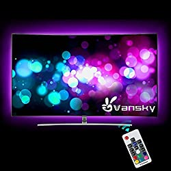 Led Strip lights,Vansky Bias Lighting for 40-60 inch HDTV 6.6ft RGB USB Powered LED Light Strip with RF Remote,TV Backlight Kit for Flat Screen TV,PC - Reduce Eye Strain and Increase Image Clarity