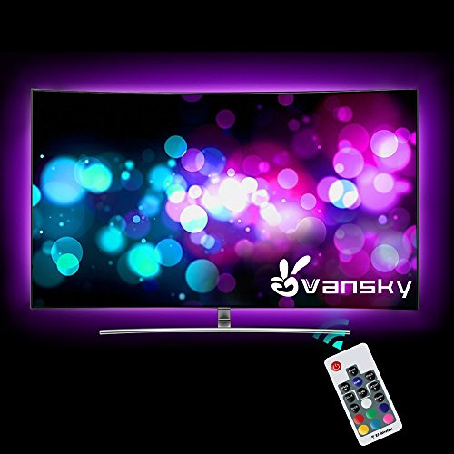 Led Strip lights,Vansky 6.6ft RGB Bias Lighting for 40-60 inch HDTV USB Powered LED Light Strip with RF Remote,TV Backlight Kit for Flat Screen TV,PC - Reduce Eye Strain and Increase Image - Pink Color Plugs