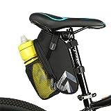 Lukovee Asiento de Bicicleta, Bolsa de sillín, Bicicleta Debajo del Asiento, Bolsa de Viaje con Red Adicional, Banda Reflectante y Gancho Trasero para Ciclismo al Aire Libre (sin Botella)