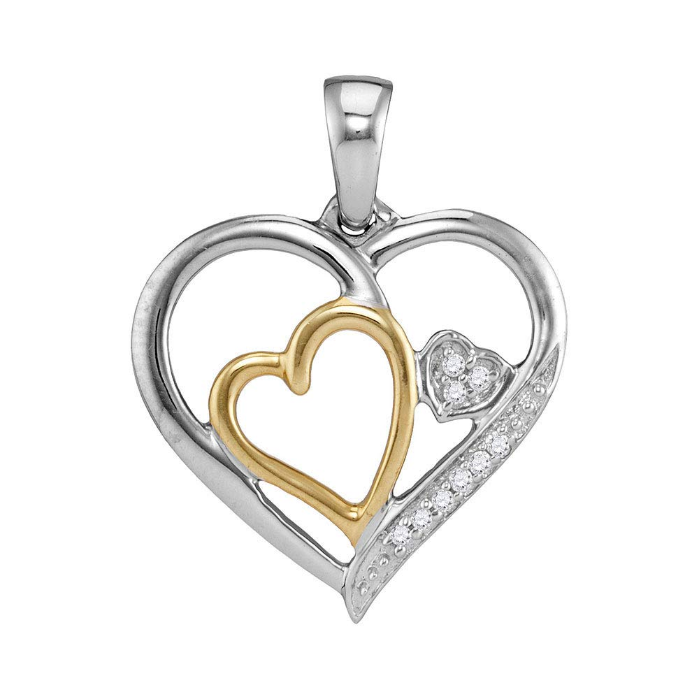 Two-tone Sterling Silver Womens Round Diamond Triple Nested Heart Pendant 1//20 Cttw