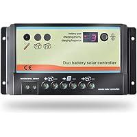 Controlador / regulador de carga solar de doble batería EPEVER PWM 10A para autocaravanas, caravanas, botes o cualquier sistema con dos baterías de 12V / 24V o bancos de baterías