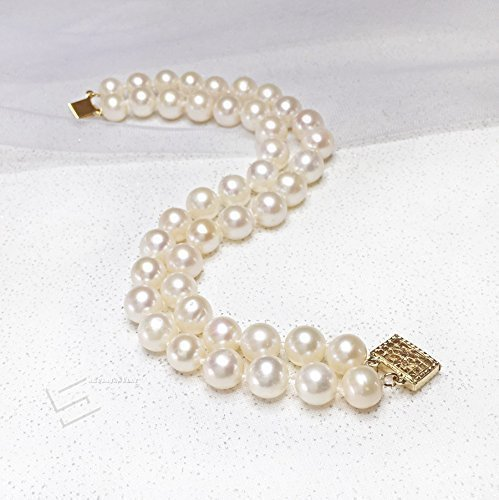 Double Strand Pearl Bracelet, AA+ Grade Cultured Pearls & 14K Gold Filled Clasp 2 Rows Bracelet, Freshwater Pearl Hand Kontted Bangle, Real Pearl Jewelry