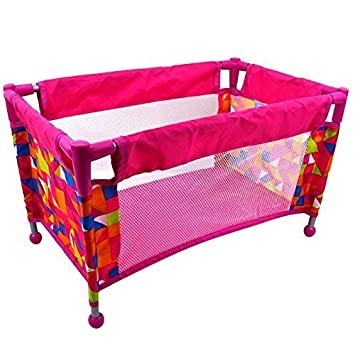 reputable site 41dc6 c6cdf Rexco Childrens Kids Deluxe Travel Cot Bed Crib Baby Doll Toy Accessories  Cradle Role Play Pretend Game Girls Xmas Gift