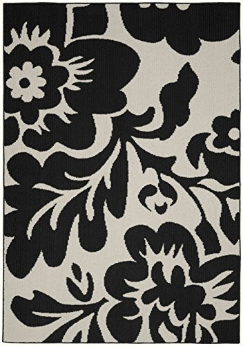Floral Black Rug - Garland Rug Floral Garden Area Rug, 8 x 10, Black/Ivory