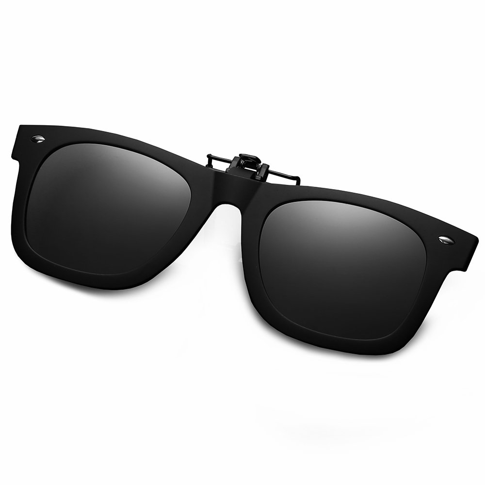 WELUK Polarized Clip On Flip Ups Sunglasses Wayfarer Style TR90 Frame UV400 Driving (Grey, 60)