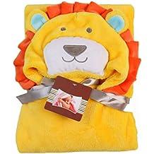 ink2055 Cute Baby Swaddle Cartoon Animal Design Flannel Cloak Warm Hooded Blanket