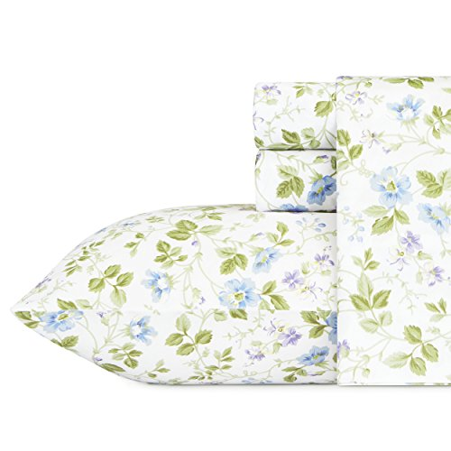 Laura Ashley Spring Bloom Wildflower Sheet Set, Queen, Blue, 4 - Sheets Laura Cotton Ashley