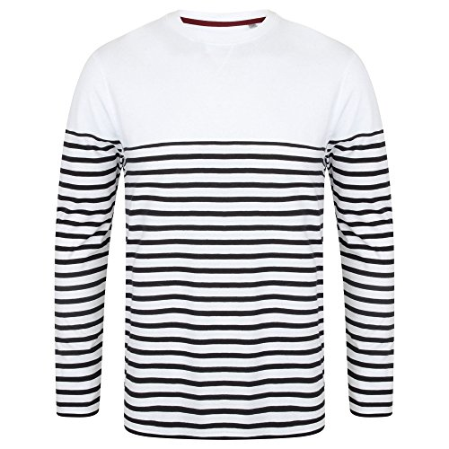 Front Row Mens Long Sleeve Breton Stripe T-Shirt (M) (White/Navy)
