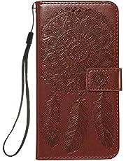 Lijc Hoesje voor Samsung Galaxy S20 Plus Premie Zacht PU-Leer Flip-Portemonnee Dromenvanger Reliëf Patroon Geval [Kaartsleuf][Stand-Functie] Schokbestendig Hoes-Bruin