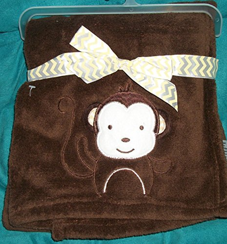 CUte Chocolate Brown Very Soft Baby Blanket 30 x 30 with Monkey with Flappy Ears