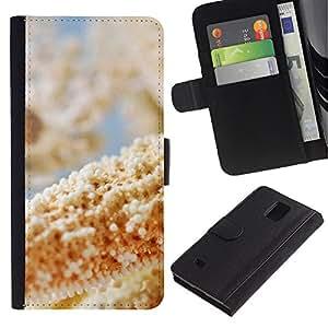 Caso Billetera de Cuero Titular de la tarjeta y la tarjeta de crédito de la bolsa Slot Carcasa Funda de Protección para Samsung Galaxy Note 4 SM-N910 Plant Nature Forrest Flower 52 /