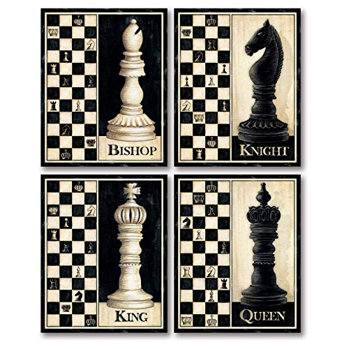 Check Mate! Classic King, Queen, Knight, Bishop Chess Piece Sign; Four 11 x 14 Poster Prints ()