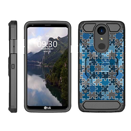 TurtleArmor | Compatible LG Stylo 4 Case | Q Stylus Case | Stylo 4 Plus Case [Armor Pro] Full Body Coverage Armor Holster Belt Clip Kickstand Rugged Case - Puzzle Pieces