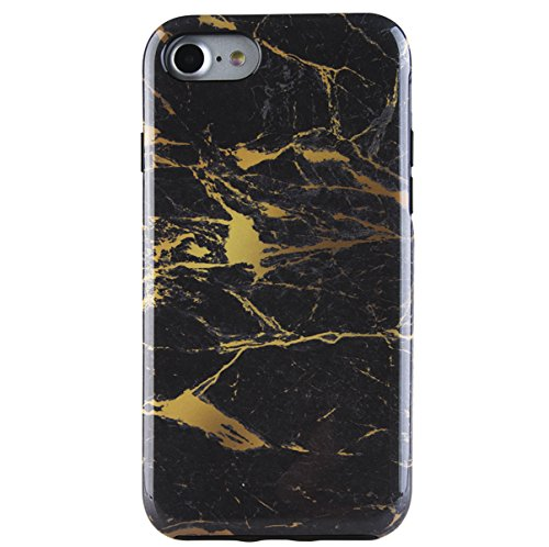 Dimaka Case for iPhone 7 and 8, Double Layer Cute Marble Pattern Hybrid Shockproof Hard PC Soft TPU High Impact Protective Case for iPhone 7 & 8 (80, iPhone 7 & 8) ()