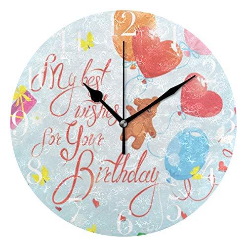(FunnyCustom Round Wall Clock Happy Birthday Love Heart Cute Bear Celebration Balloons Acrylic Creative Decorative for Living Room/Kitchen/Bedroom/Family)