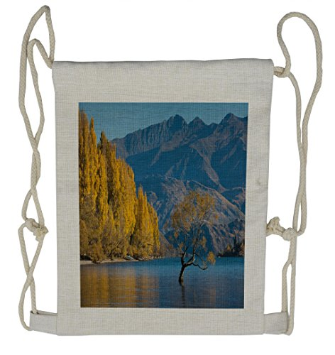 Ambesonne Nature Drawstring Backpack, Sunken Tree Lake Rural, Sackpack Bag by Ambesonne
