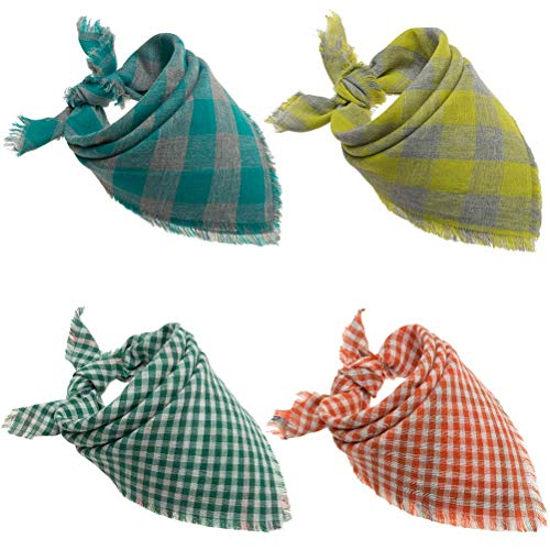 - EXPAWLORER 4 Pack Dog Plaid Bandana with Fringe 8 Styles Washable Square Reversible Triangle Bibs Scarf Accessories for Dogs Cats