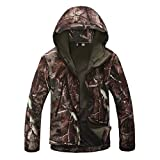 Eglemall Men's Outdoor Hunting Soft Shell Waterproof Tactical Fleece Jackets (X-Large, Tree Camo)