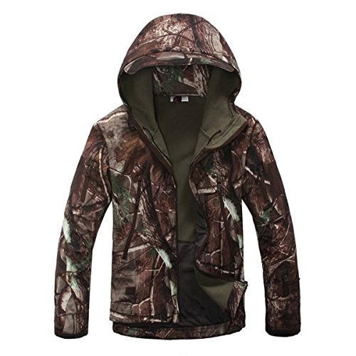 Eglemall Men's Outdoor Hunting Soft Shell Waterproof Tactical Fleece Jackets (Large, Tree Camo)