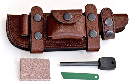 CFK Cutlery Company USA Handcrafted RIGHT HAND SCOUT/LEFT HAND CROSS DRAW Horizontal BROWN Leather Tactical Hunter Blade Knife Sheath & Wet Stone & Fire Starter Set - Scout Sheath