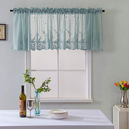 Guo Nuoen Woven Textured Valance for Bathroom Water Repellent Door Window Covering Curtain Lace Coffee Shop Home Decor