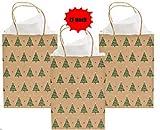 Christmas Tree Kraft Gift Bags- 12 Pack - 9 Inch Medium