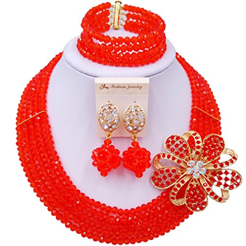Blushing Bride Costumes (laanc Fashion Lady Jewellery 5 Rows MultiColor Crystal Nigerian Bridel Wedding African Bead Jewelry Sets (Red))