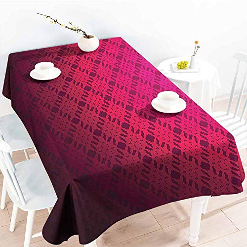 Oval Mix Rosewood - Homrkey Wrinkle Resistant Tablecloth Magenta Decor Damask Textured Checkered Pattern Geometric Figures Romantic Style Vintage Print Rosewood and Durable W70 xL102