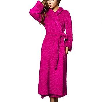 SY Pijamas cómodos para el hogar Tienda de algodón con Bolsillos Albornoz - Albornoces con Cuello