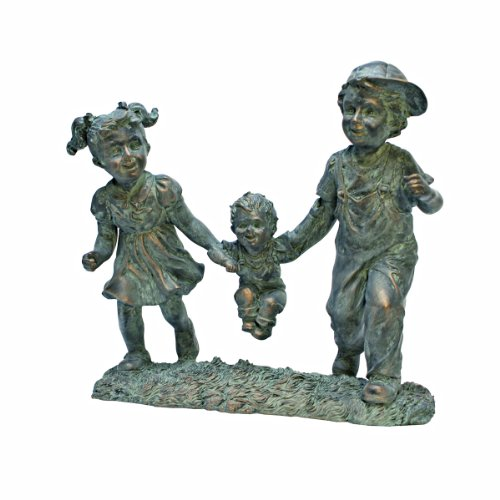 Design Toscano Swing Time Boy And Girl Garden Statue, 12 Inch By 6 Inch By  12 Inch