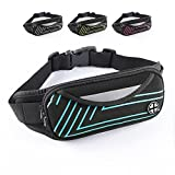 VonsaL Running Belt Waist Pack, Water Resistant Fanny Pack Light-Reflective for Running Climbing Hiking Sports Fitness, with Phone Holder for iPhone Samsung and Most Smartphones