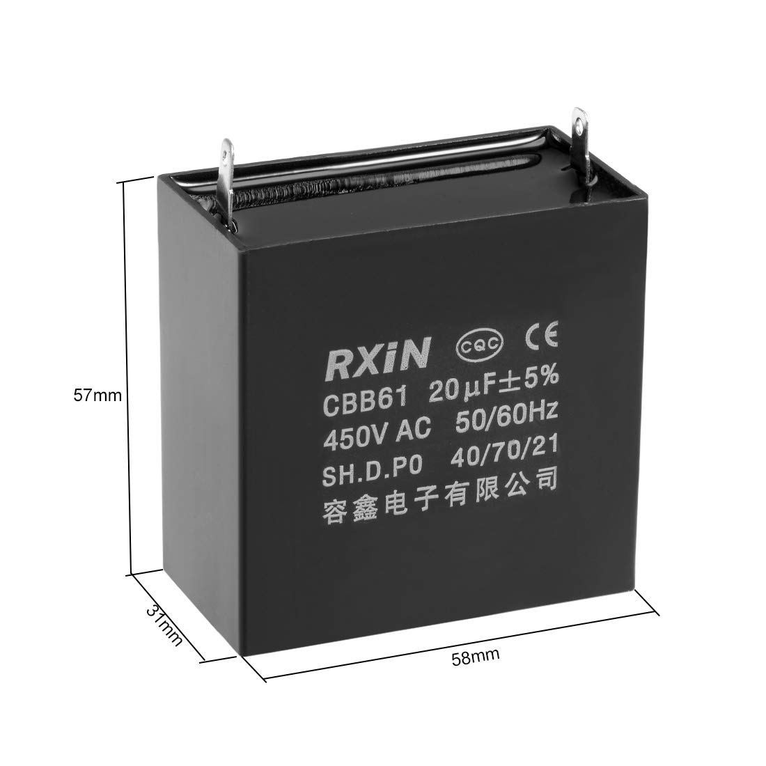 uxcell CBB61 Run Capacitor 450V AC 4uF 2 Cable Metallized Polypropylene Film Capacitors for Ceiling Fan