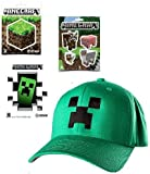 Minecraft Green Creeper Flex-fit Baseball Cap & 9 Stickers Gift SET