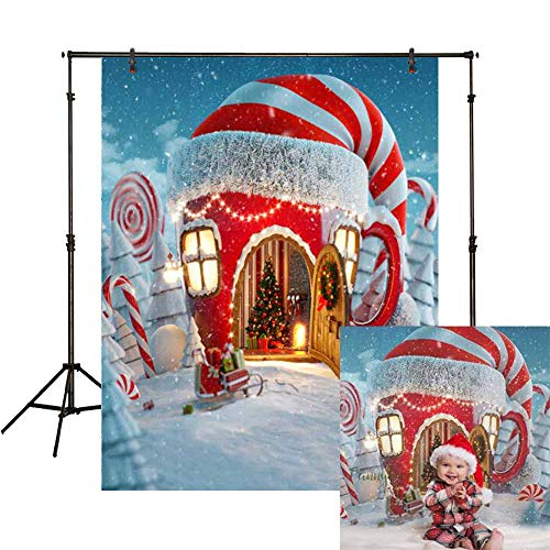 Funnytree 5X7ft Soft Fabric Christmas Candy Cup House Photography Backdrop Wrinkle Free Snow Pine Tree Background with Pole Pocket Children Newborn Baby Portrait Photo Studio Photobooth -