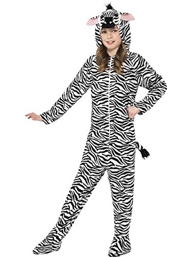 Smiffy's Children's Unisex All In One Zebra Costume, Jumpsuit With Hood, Party (Halloween Costumes 2017 Uk)