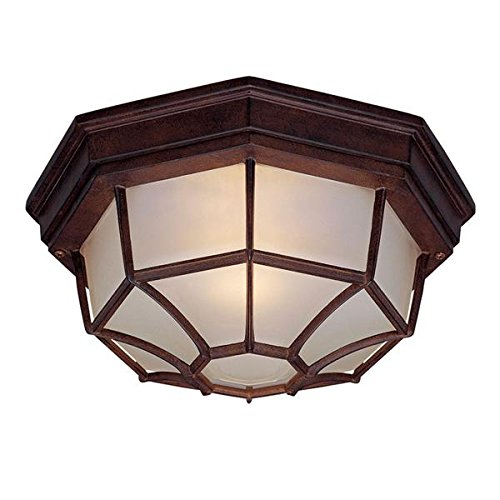 Exterior Collections Flush Mount - Acclaim 2002BW Flush Mount Collection 2-Light Ceiling Mount Outdoor Light Fixture, Burled Walnut