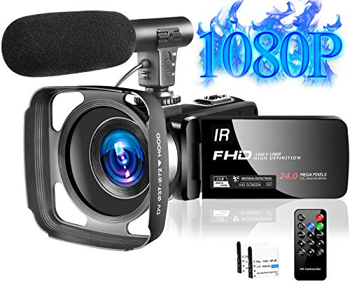 Video Camera Camcorder with Microphone Full HD 1080P 30FPS 24MP Vlogging Camera for YouTube 16X Digital Zoom IR Night…