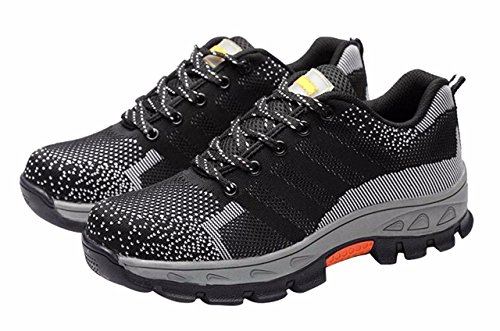 Jiu du Women's and Men's Round Toe Insulated Construction Non-Slip Work Shoes Work Safety Athletic Shoes Grey Microfiber Size US7.5 EU39 by Jiu du