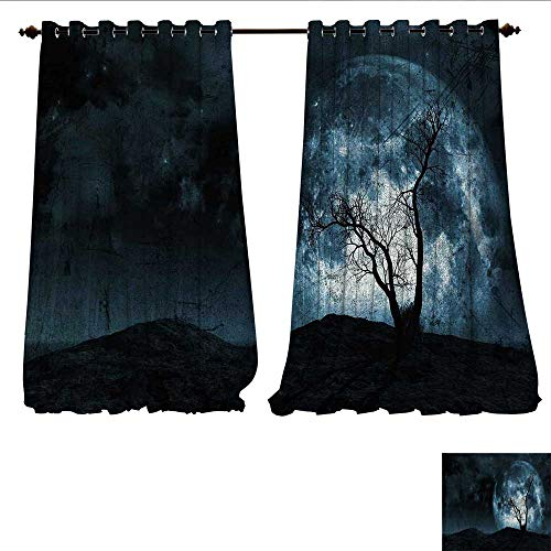 WilliamsDecor Thermal Insulating Blackout Curtain Night Moon Sky