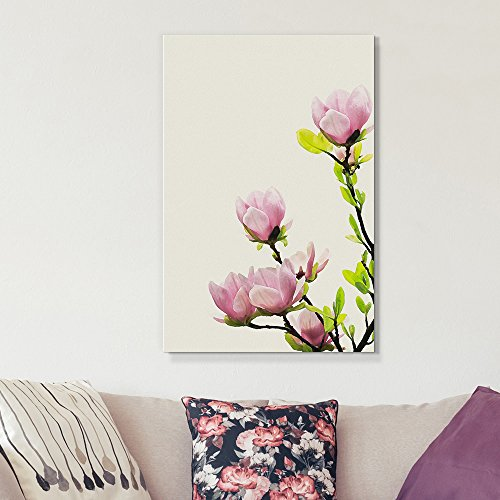 wall26 Canvas Wall Art – Pink Blooming Flowers on The Branch – Giclee Print Gallery Wrap Modern Home Decor Ready to Hang – 16×24 inches