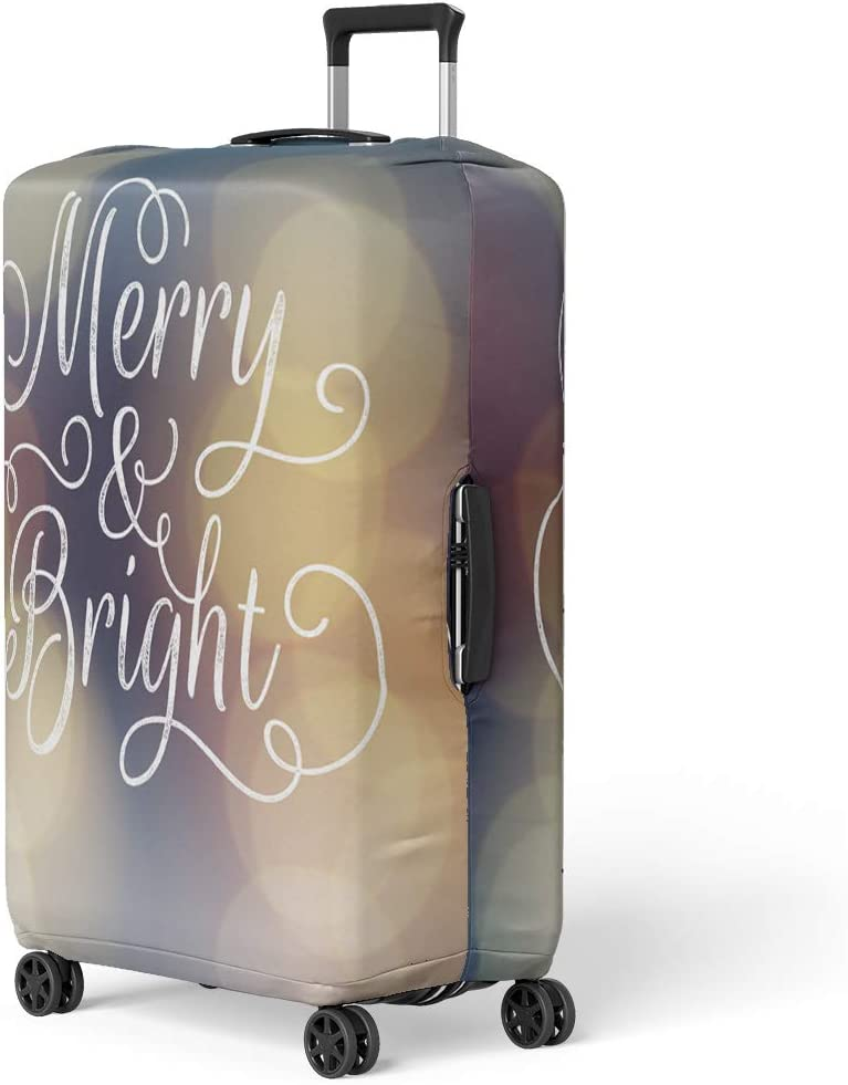 Pinbeam Luggage Cover Merry and Bright Lettering Ink Stamp Effect Bokeh Travel Suitcase Cover Protector Baggage Case Fits 26-28 inches
