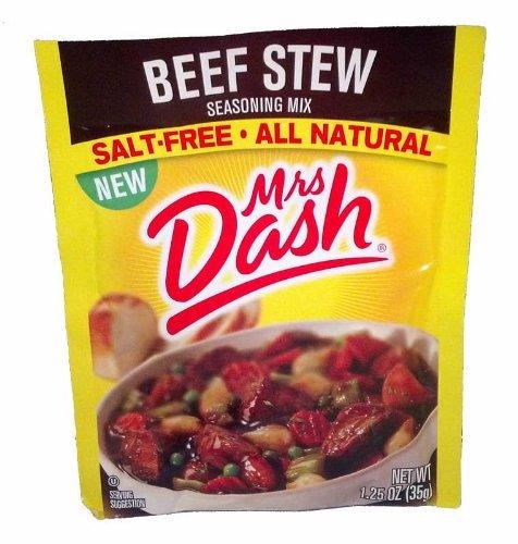 Mrs Dash All Natural Seasoning Mix - Beef Stew - Salt-Free - Net Wt. 1.25 OZ - Pack of 6 Packets