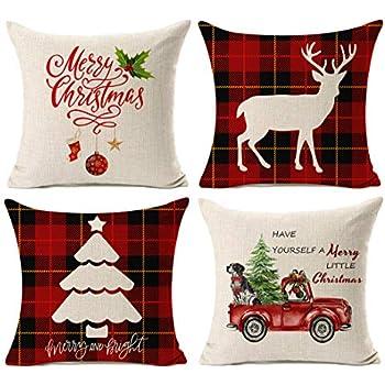 Amazon.com: onway feliz Navidad manta de lino y algodón ...