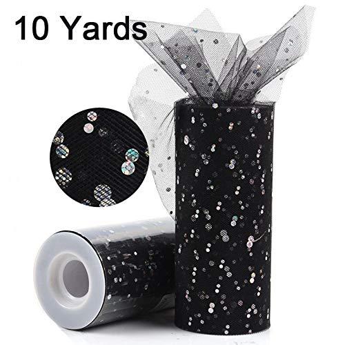 UltraZhyyne - Glitter Sequin Tulle Roll 25yards 15cm Spool Tutu Wedding Decoration Organza Laser DIY Crafts Birthday Party [ Sequin 10Y Black ()
