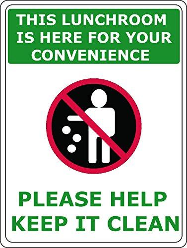 Lunchroom Keep It Clean Vinyl PVC Sign