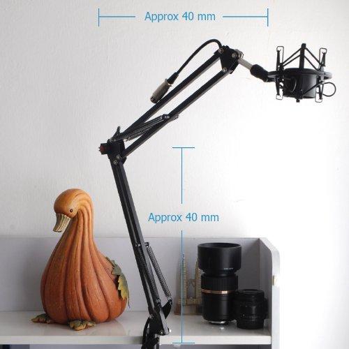 CISNO Mic Boom Desktop Stand Holder&Condenser Microphone&Shock Mount&Pop Filter-Blue