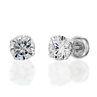 b935c9a48 Amazon.com: Moissanite Forever One Classic Stud Earrings in 14k Gold 4MM  D-F VVS (Equivalent 1/2 CTTW Diamond Weight): Jewelry